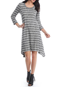 Fever Striped Hacci Dress