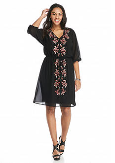 Free 2 Luv Plus Size Embroidered Dress