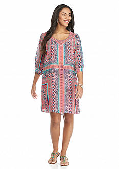 Free 2 Luv Plus Size Printed Shift Dress