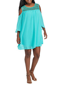 Free 2 Luv Plus Size Cold Shoulder Crochet Dress
