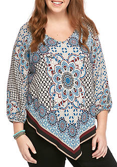 Heart N Soul Plus Size Medallion Scarf Print Top