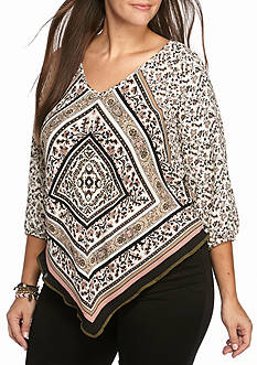 Free 2 Luv Plus Size Scarf Print Woven Top