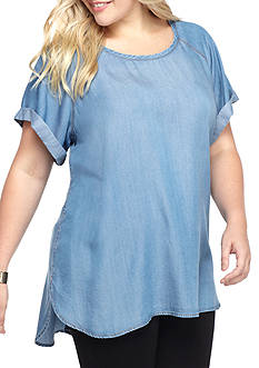 Heart N Soul Plus Size Chambray Top