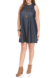 Free 2 Luv Plus Size Faux Denim Mock Swing Dress
