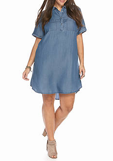 Heart N Soul Plus Chambray Shirt Dress