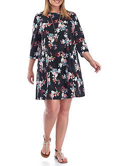 Free 2 Luv Plus Size Printed Swing Dress With Necklace
