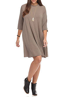 Free 2 Luv Plus Size Striped Necklace Swing Dress