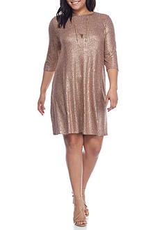 Free 2 Luv Plus Size Rib Foil Swing Dress