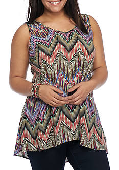 Free 2 Luv Plus Size Tribal Chevron Pattern Tank