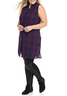 Free 2 Luv Plus Size Plaid High Slit Tunic