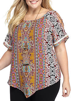 Free 2 Luv Plus Size Printed Cold Shoulder Top