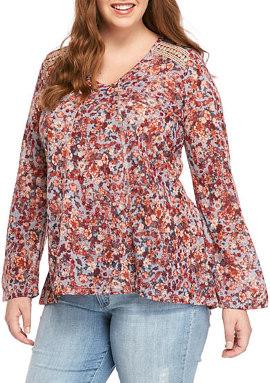 Free 2 Luv Plus Size Printed Knit Top