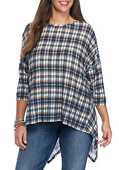 Free 2 Luv Plus Size Plaid Knit Top