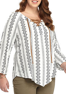 Free 2 Luv Plus Size Floral  Lace-Up V-Neck Blouse