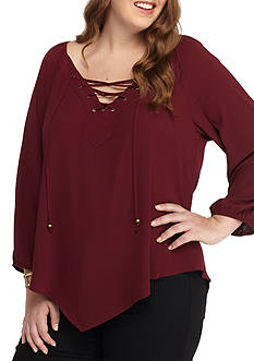 Free 2 Luv Plus Size Lace Up V Hem Woven Shirt
