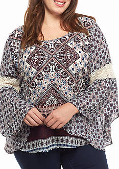 Free 2 Luv Plus Size Crochet Sleeve Top