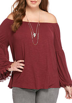 Free 2 Luv Plus Size Off The Shoulder Top