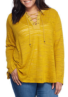 Free 2 Luv Plus Size Space-dye Lace Up Tunic
