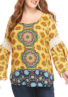 Free 2 Luv Plus Size Mix Print and Crochet Top