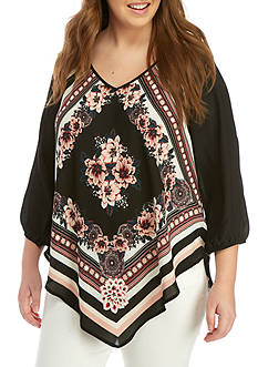 Free 2 Luv Plus Size Floral Scarf Blouse