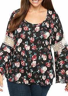 Free 2 Luv Plus Size Crochet Bell Sleeve Floral Woven Top