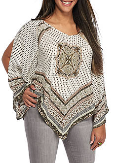 Heart N Soul Plus Size Scarf Print Split Sleeve Blouse