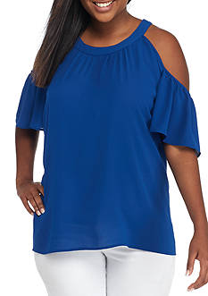 Free 2 Luv Plus Size Short Sleeve Cold Shoulder Blouse