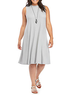 Free 2 Luv Sleeveless Swing Rib Dress with Necklace