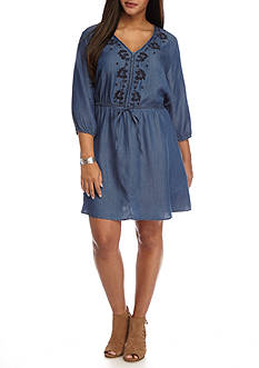 Heart N Soul Plus Size Embroidered Chambray Dress
