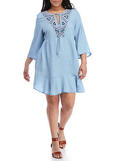 Free 2 Luv Plus Size 3/4 Sleeve Embroidered V-Neck Peasant Dress