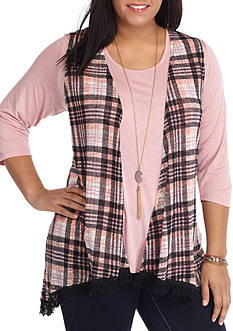 Self Esteem Plus Size Knit Top With Fringe Cozy Vest