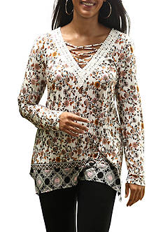 Belle du Jour Plus Size Laceup Crochet Top