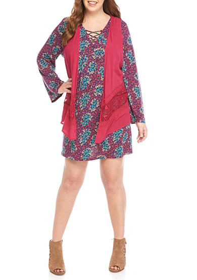 Belle du Jour Plus Size Sangria Vest and Printed Dress Set
