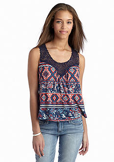 Self Esteem Crochet Trim Swing Tank