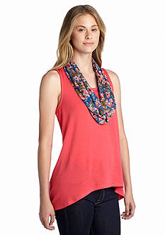Self Esteem Solid Tank with Scarf