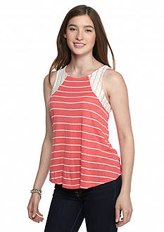 Self Esteem Lace Shoulder Striped Tank