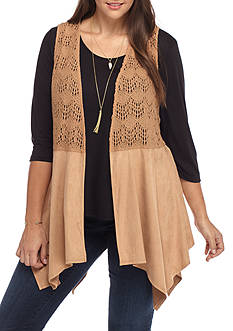 Belle du Jour Plus Size Shirt and Suede Vest