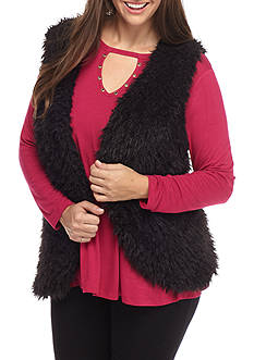 Belle du Jour Plus Size Fuzzy Vest with Cut Out Knit Top