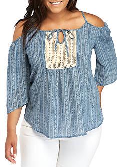 Self Esteem Plus Size Crochet Cold Shoulder Top