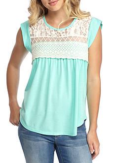 Self Esteem Lace Crochet Cap Sleeve Knit Top