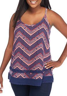 Belle du Jour Plus Size Printed Crochet Tank