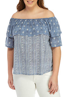 Belle du Jour Plus Size Off-The-Shoulder Mix Print Top