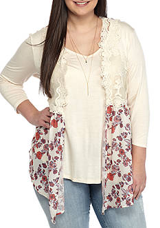 Belle du Jour Plus Size 3Fer Printed Lace Vest Top