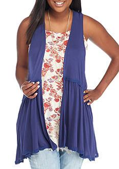 Self Esteem Plus Size 3fer Lace Trim Tank and Vest