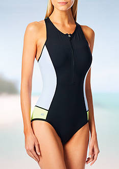 Beach House Colorblock Zip Front One Piece Swimsuit