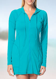 Beach House Solid Mesh Hooded Zip Up Swim Cover Up