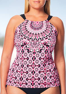 Beach House Plus Size Mystic Beach Hi Neck Tankini Swim Top