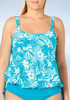 Beach House Plus Size Going Coastal Side Tie Blouson Tankini Swim Top
