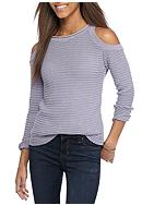 Say What Cold Shoulder Horizontal Rib Sweater