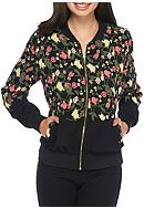 Say What Black Floral Bomber